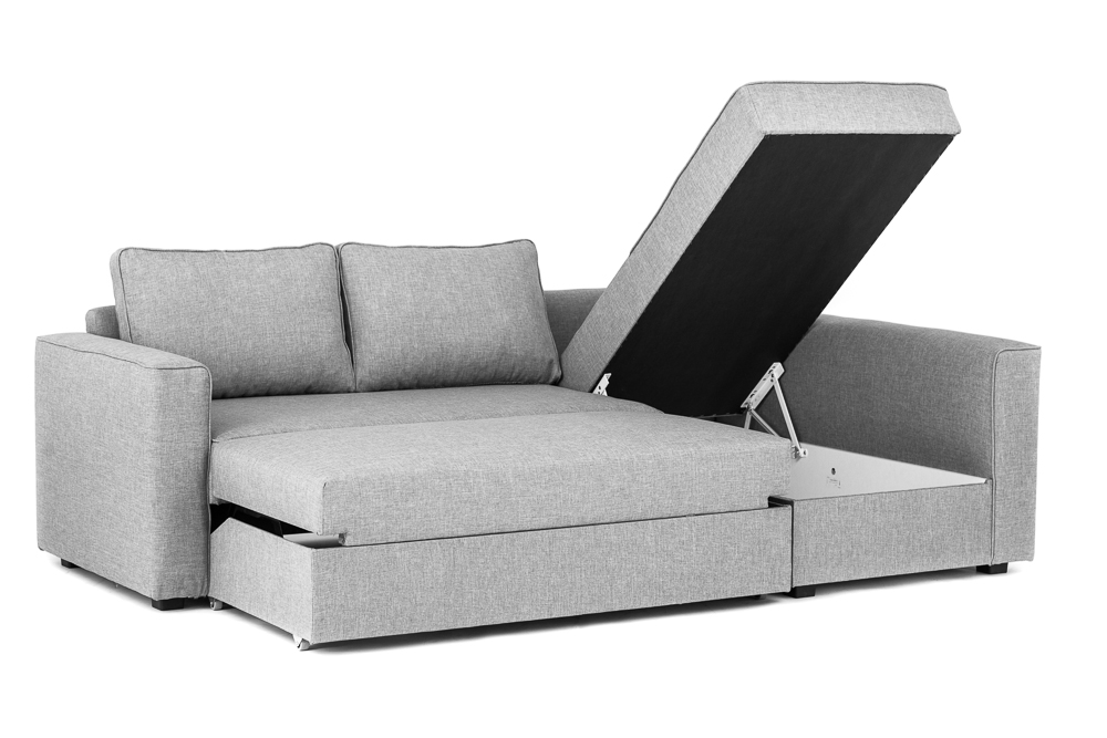 Boston Corner Sofa Bed with Underneath Storage in Grey