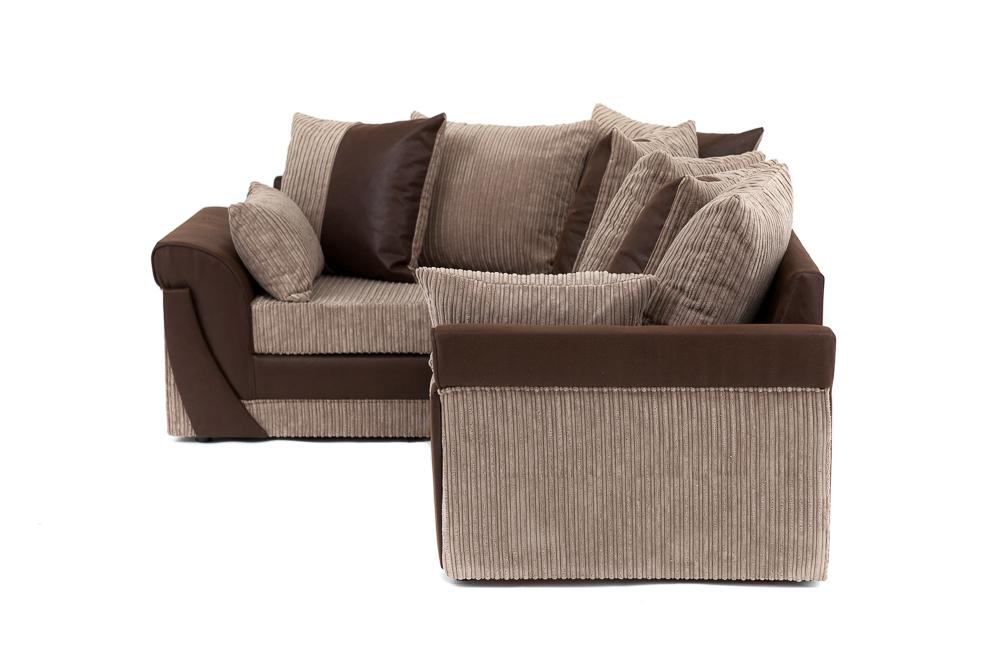 Lush Cord Chenille Corner Sofa In Brown Or Black Swivel