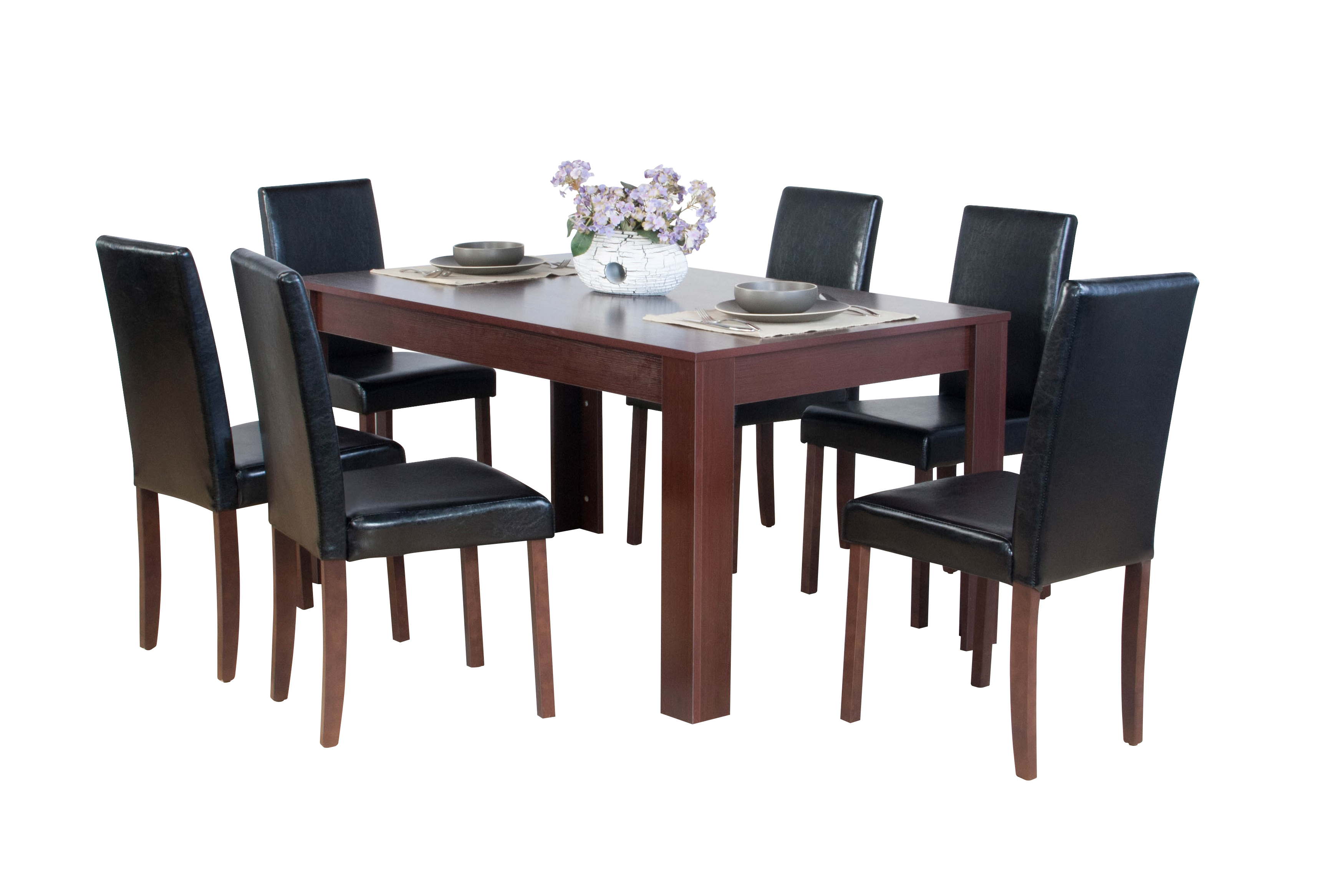 Dover Dark Brown Oak Effect Wooden Dining Table With 4